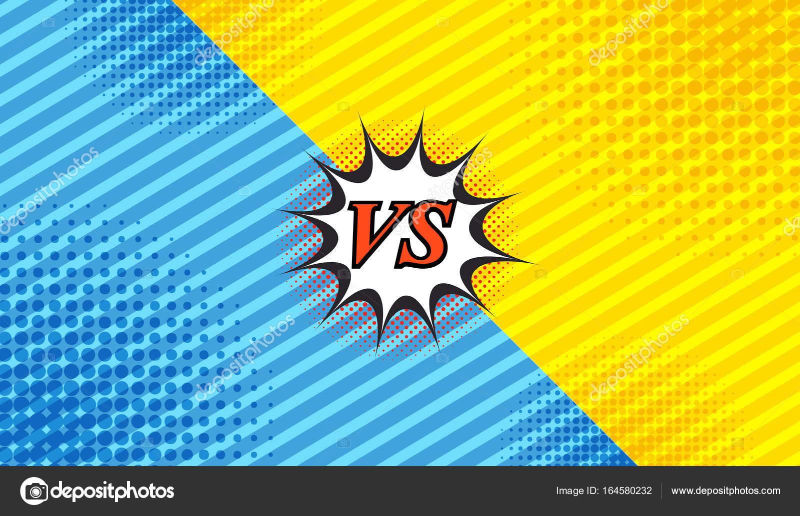 Comic Duell Hintergrund Mit Zwei Gegenüberliegenden Seiten Schrägen Linien  Und Halbton Effekte In Blauen Und Gelben Farben. Vektor Illustration U2014  Vektor Von ...
