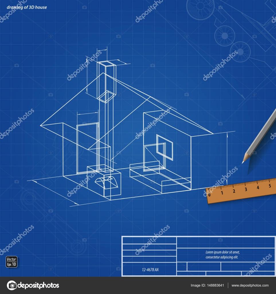 Einfache Blaupause Schema des Hauses — Stockvektor © denpovstin ...