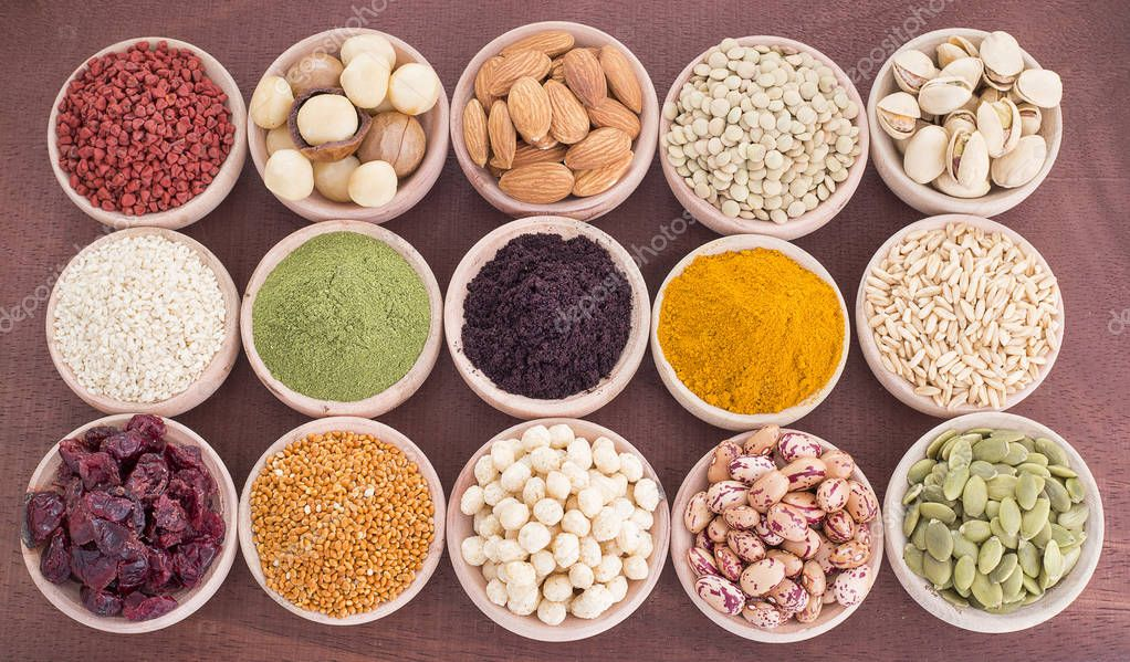 In Bowls Super Foods Spices Grains Fruits And Cereals