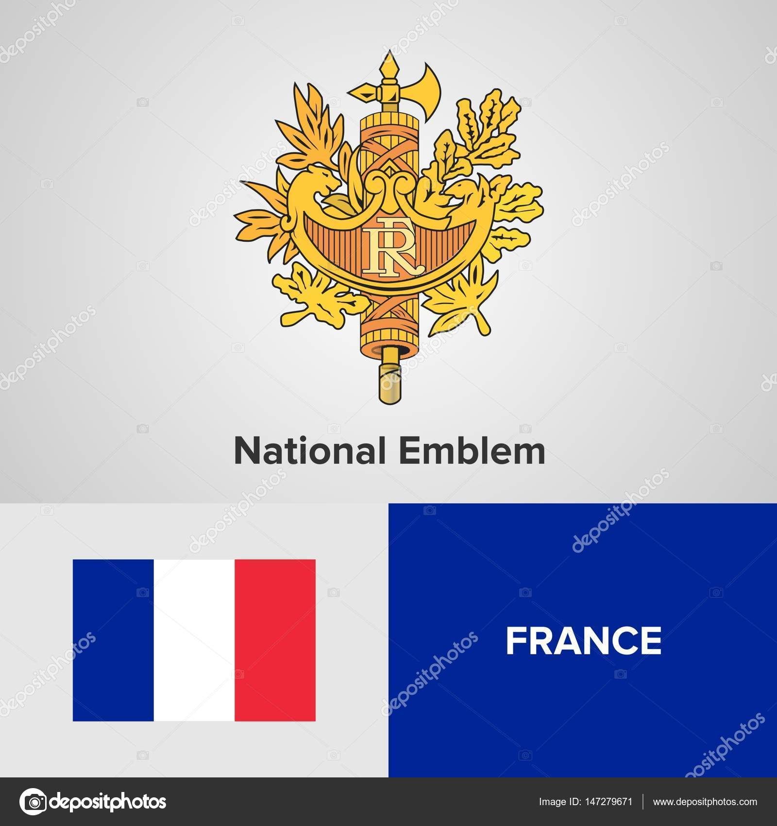 France National Emblem And Flag Stock Vector Shahsoftproduction