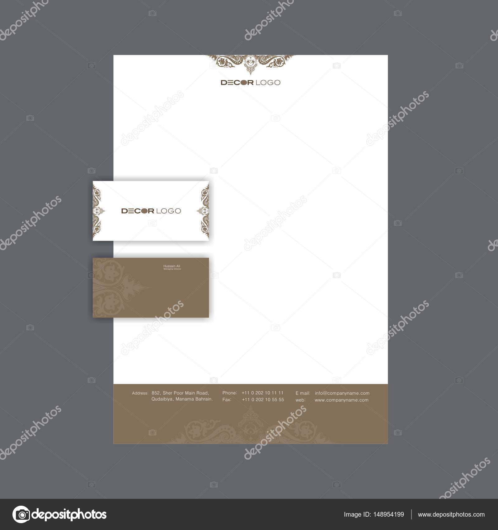 Beautiful business card and letterhead design with ornament beautiful business card and letterhead design with ornament background stock vector reheart Images