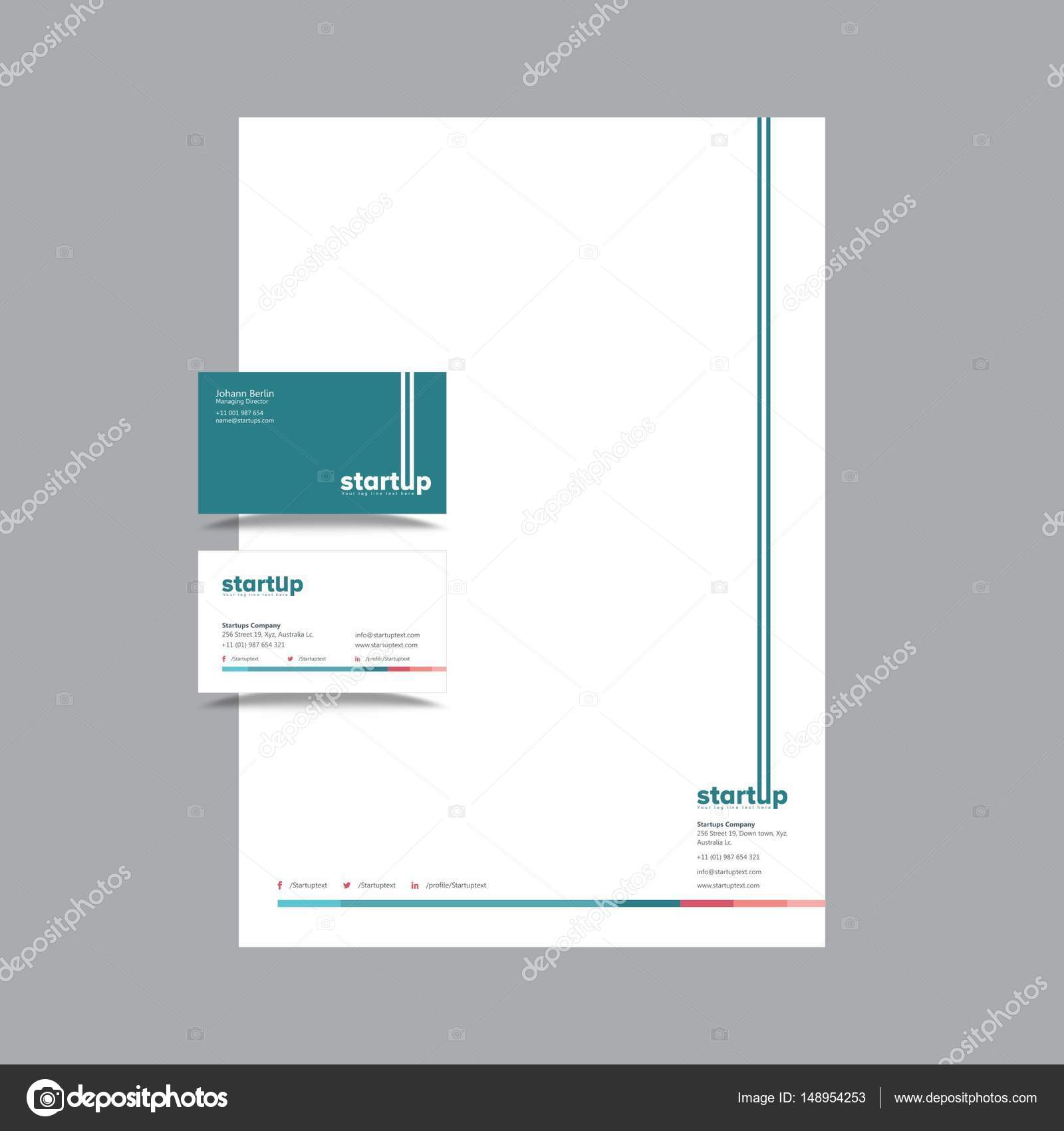 Startup Company Business Card and letterhead Design — Stock Vector ...