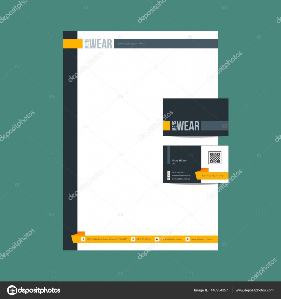 Mens wear Business Card and letterhead Design — Stock Vector ...