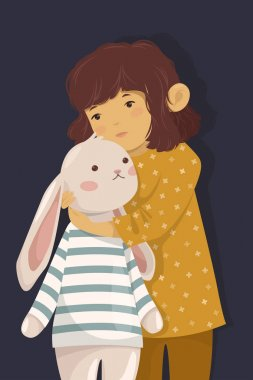 Girl with bunny toy
