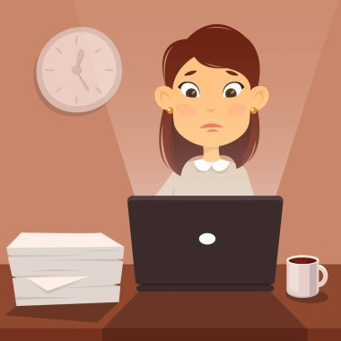 tired woman worker illustration