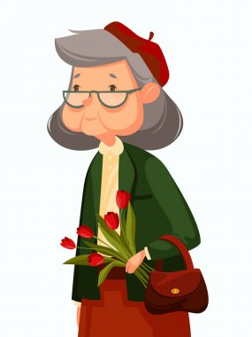 old woman with flowers