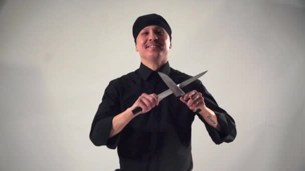 smiling confidently cook Asian cuisine on