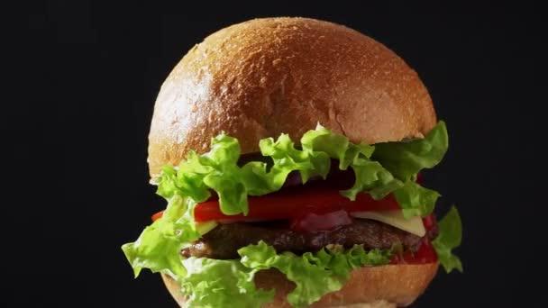 šťavnatý Burger spin closeup