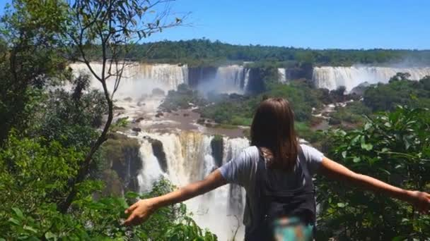 the girl on the background of a great waterfall, standing with outstretched arms