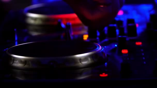 DJ deck party. light flashes