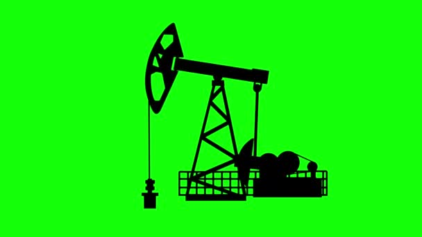 Silhouette of an oil pumping machine on a green background. Machine for the production of oil of black colour, the chroma key. Equipment for oil production runs on chromakey