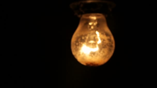 Electric Light Bulb On A Black Background U2014 Stock Video