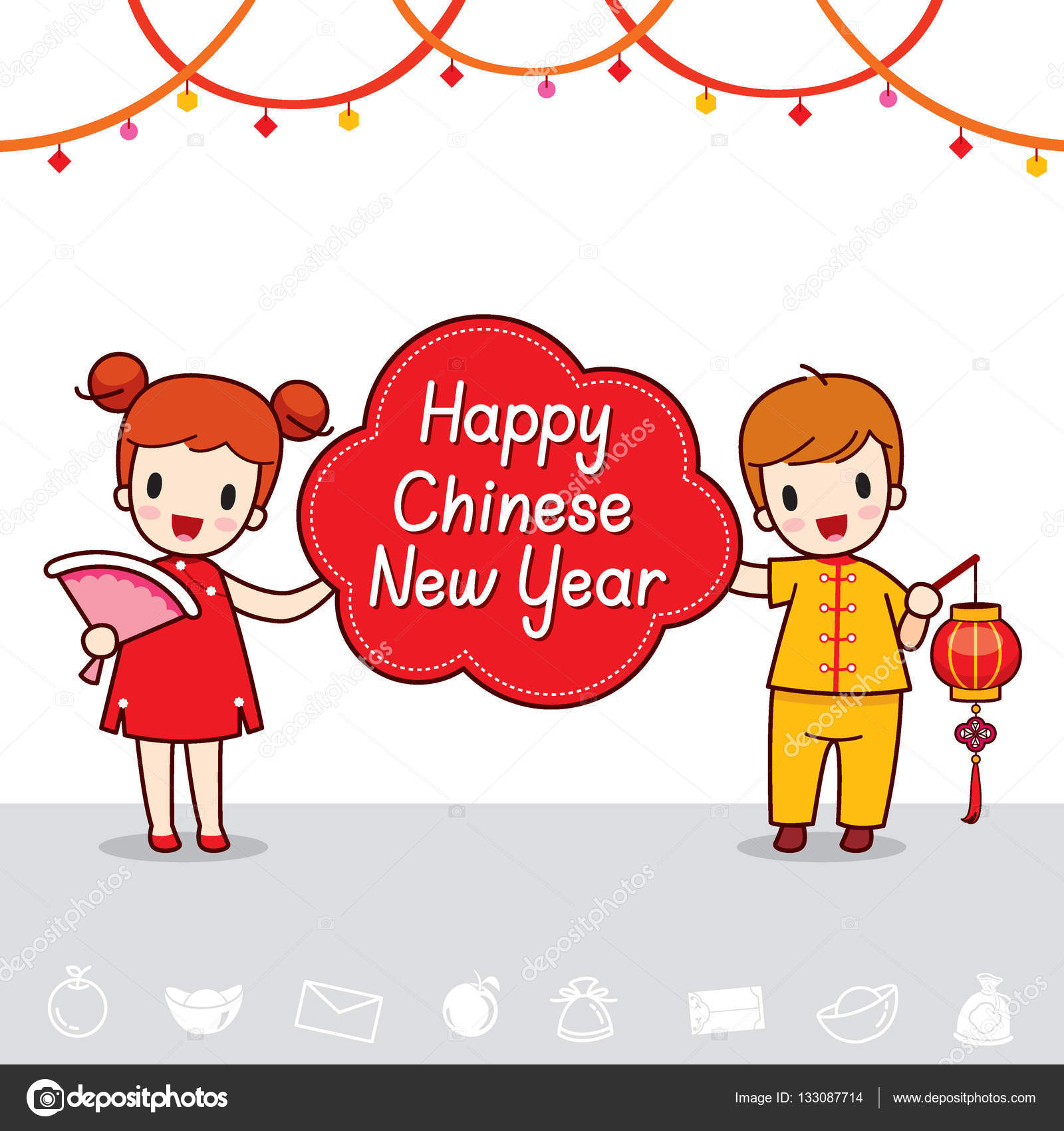 boy and girl with happy chinese new year banner stock vector