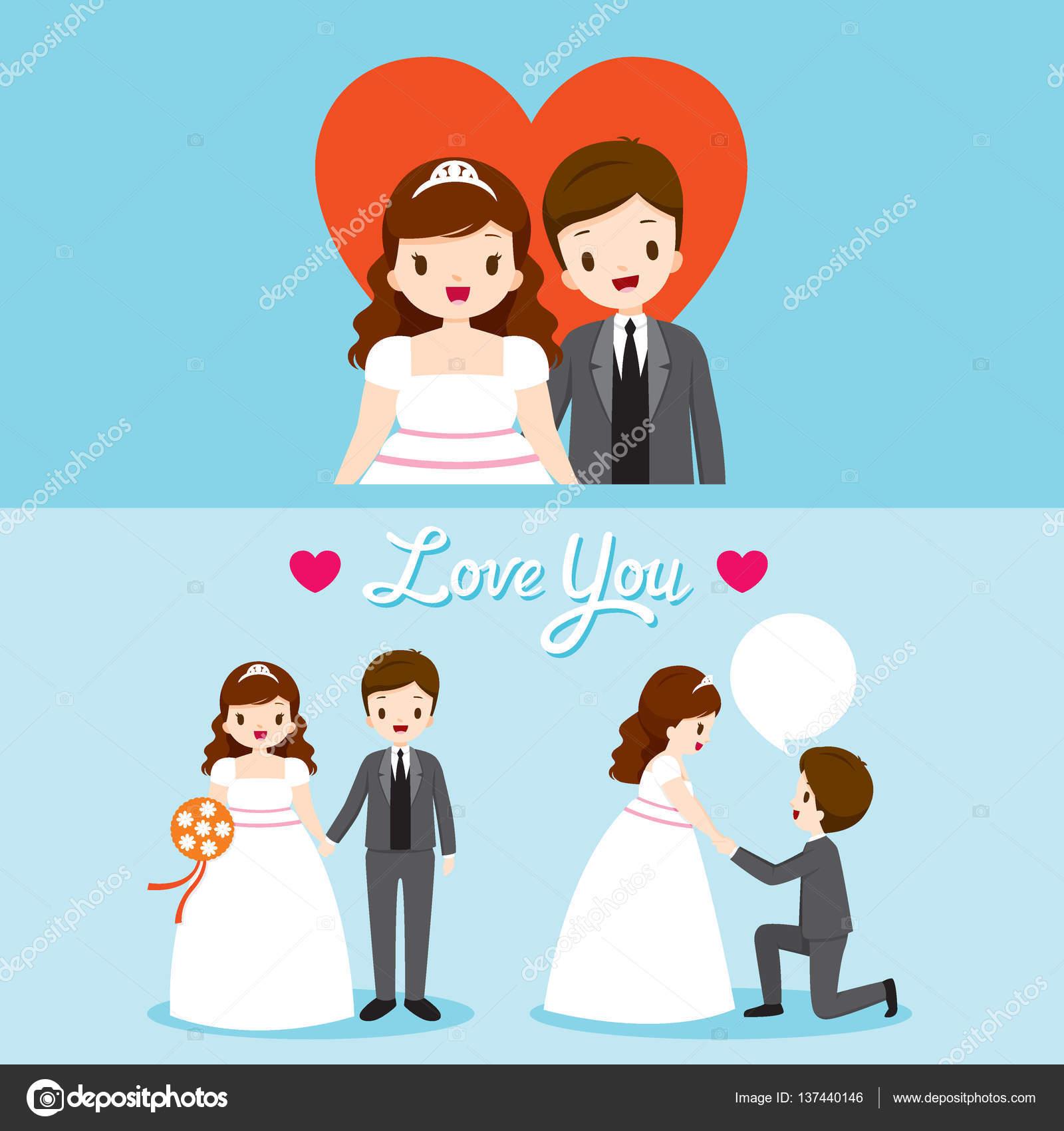 Fett Braut und Bräutigam mit verschiedenen Aktionen In Hochzeit ...