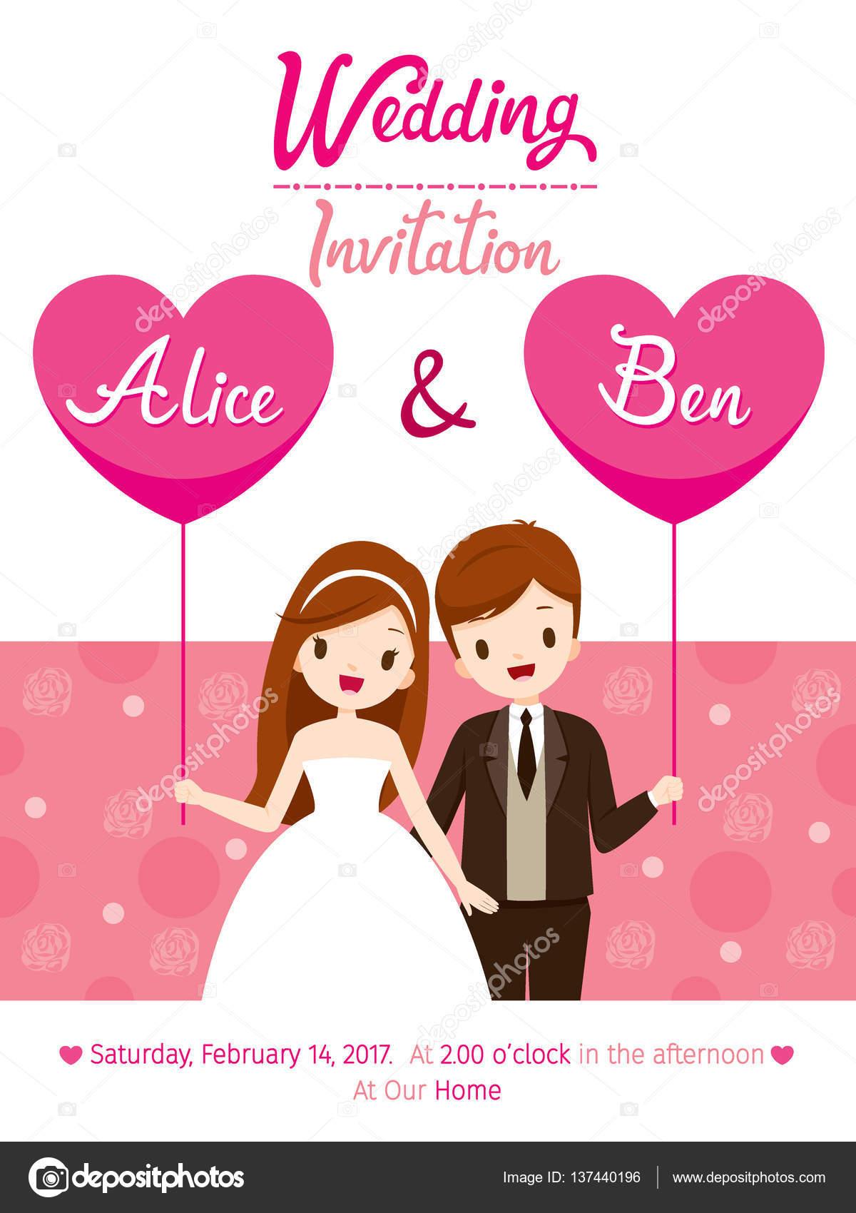 Plantilla de tarjeta de invitación de boda, la novia y el novio ...