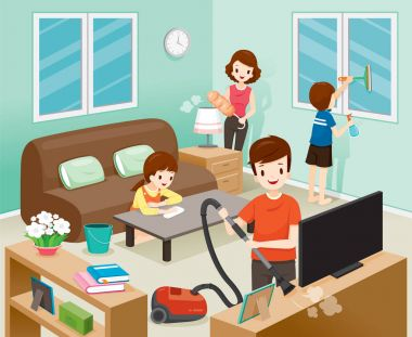 Father, Mother, Son And Daughter Cleaning Home Together