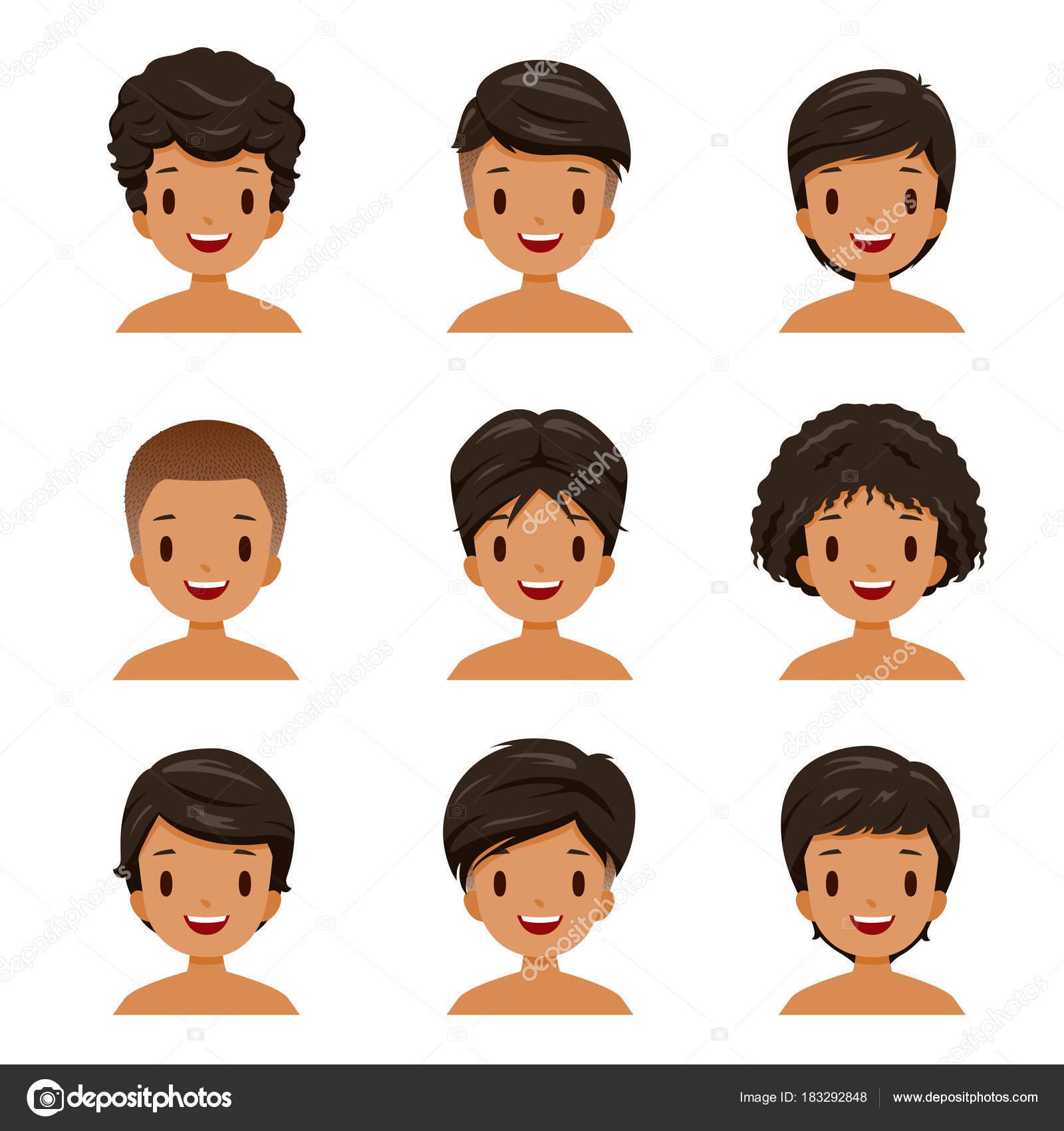 別の髪型セットの日焼けした肌男 — ストックベクター © matoommi #183292848