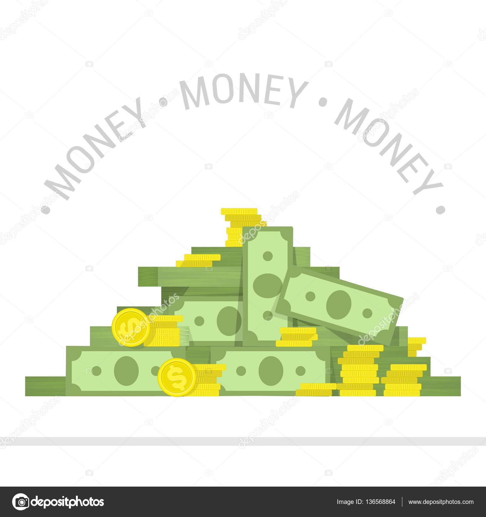 big pile of money vector illustration stock vector art sonik