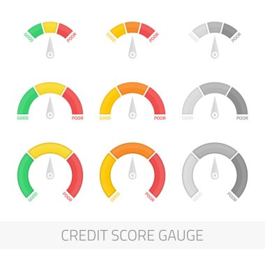 Credit score gauge vector set.