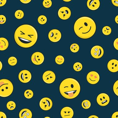 Emoticon seamless pattern on dark.