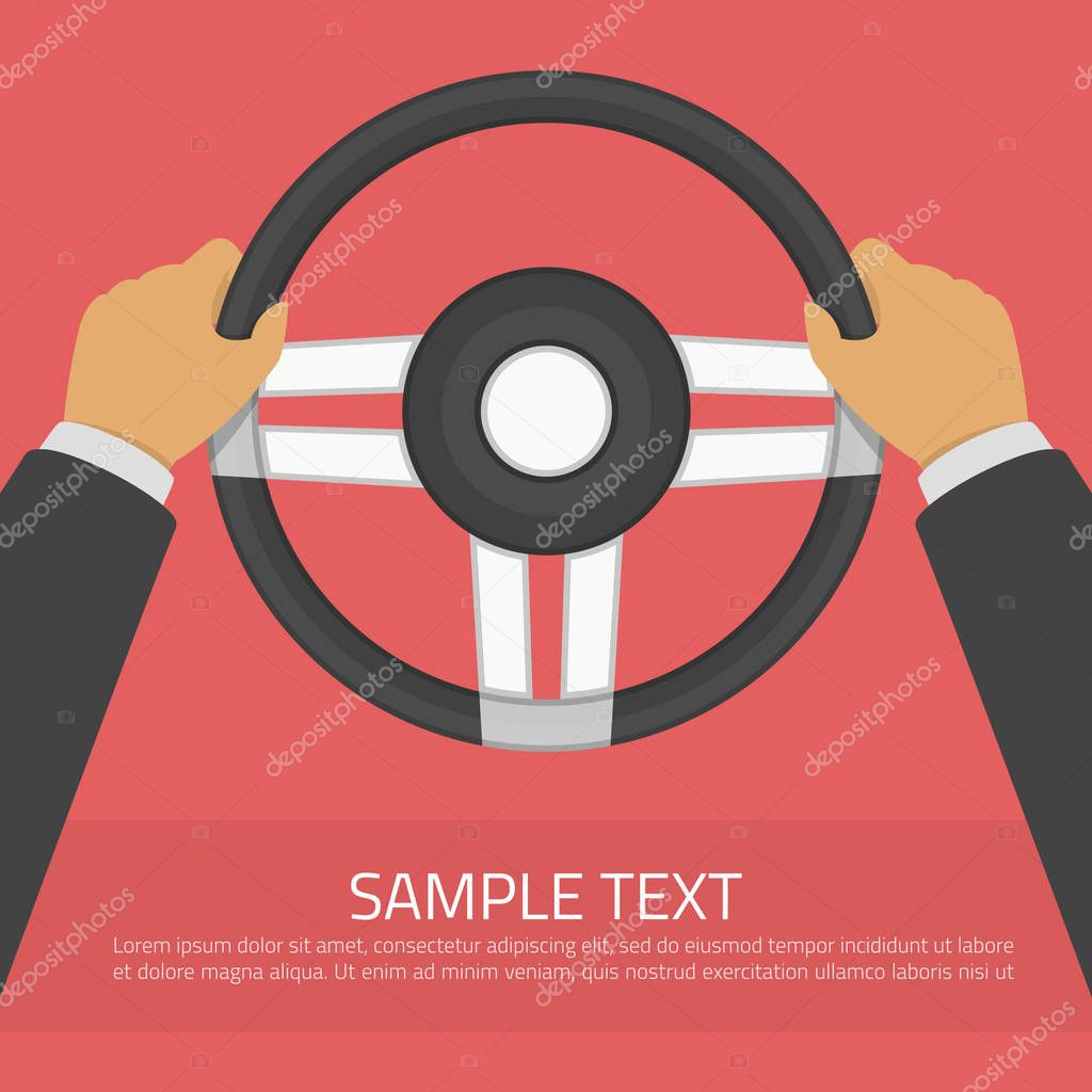 hands holding steering wheel in modern flat style drive a car vector illustration auto service training in driving school car detail concept driver infographic template premium vector in adobe illustrator ai wdrfree