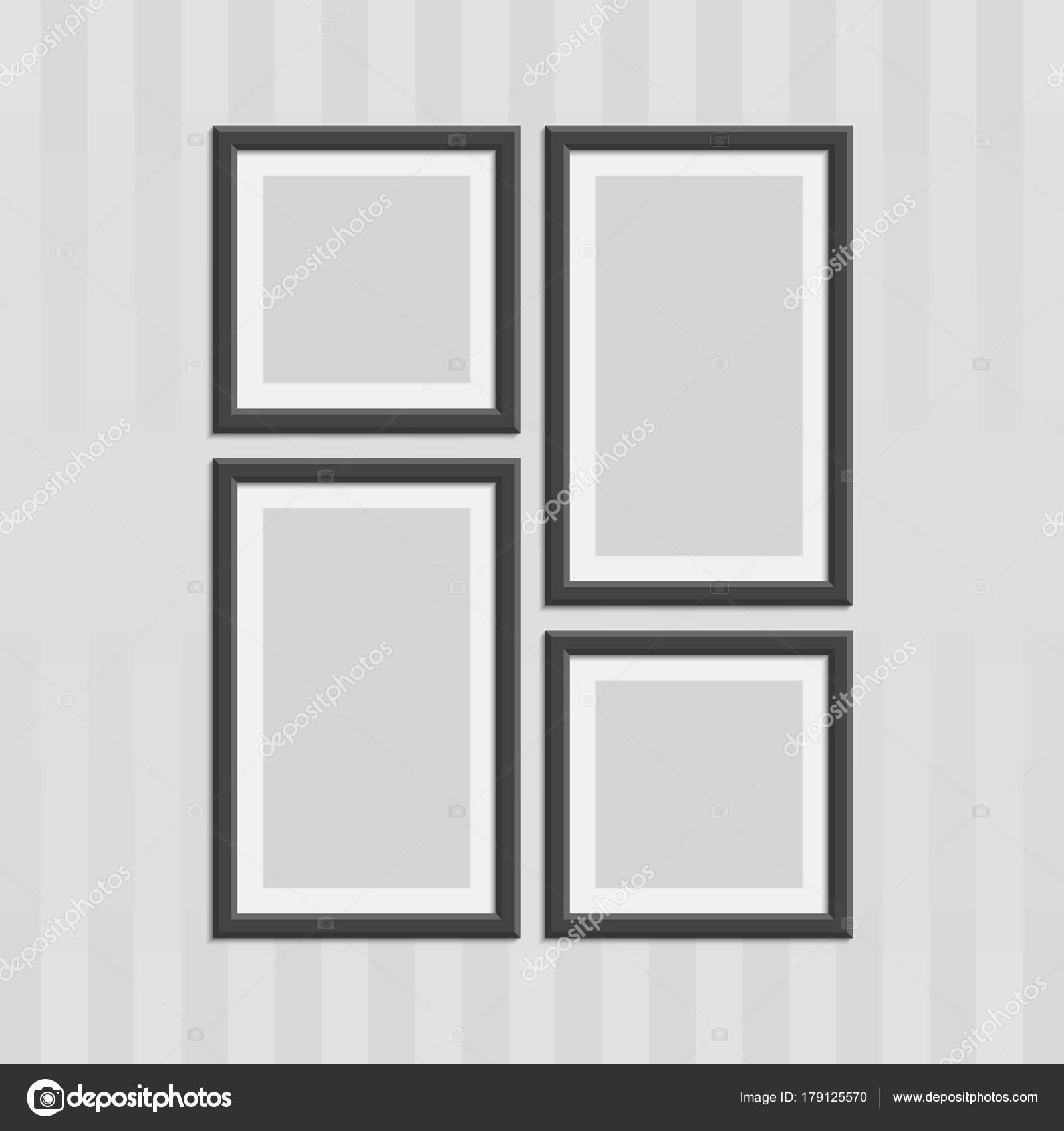 conjunto de marcos de foto de madera — Archivo Imágenes Vectoriales ...