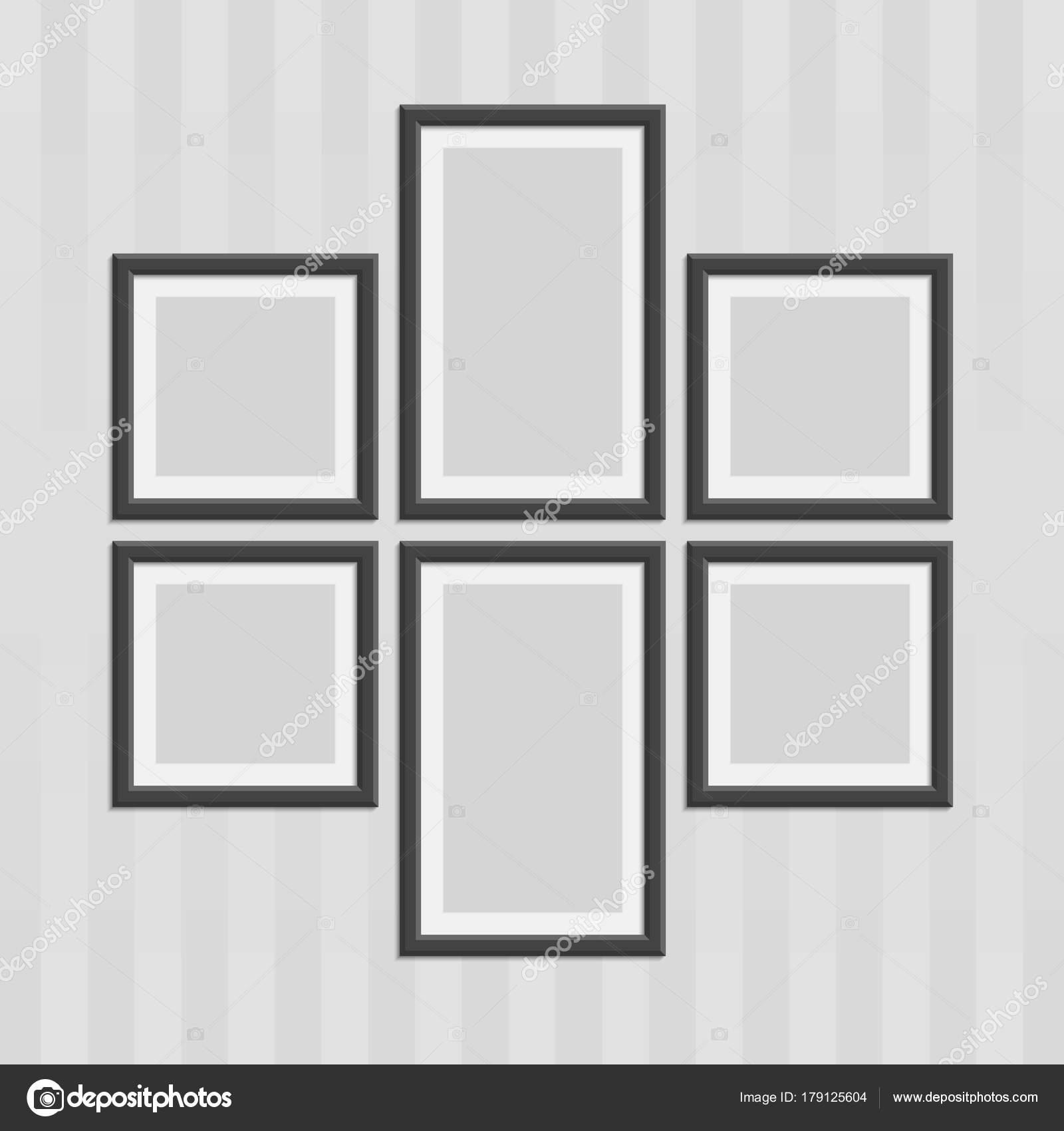 Marcos de fotos madera negro — Vector de stock © art-sonik #179125604