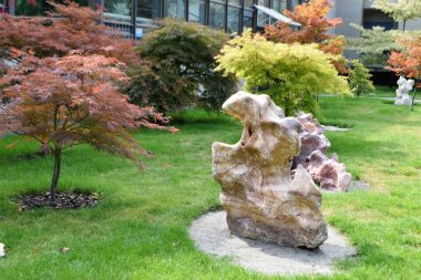 View of landscape design with stones