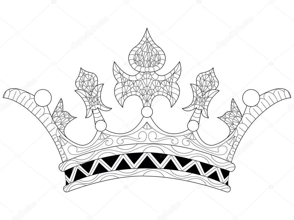 Ilustración De Vector De Una Corona Para Colorear Libro Archivo