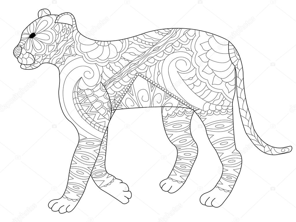 Panther wektor kolorowanka dla doros ych grafika for Mandala da colorare con animali