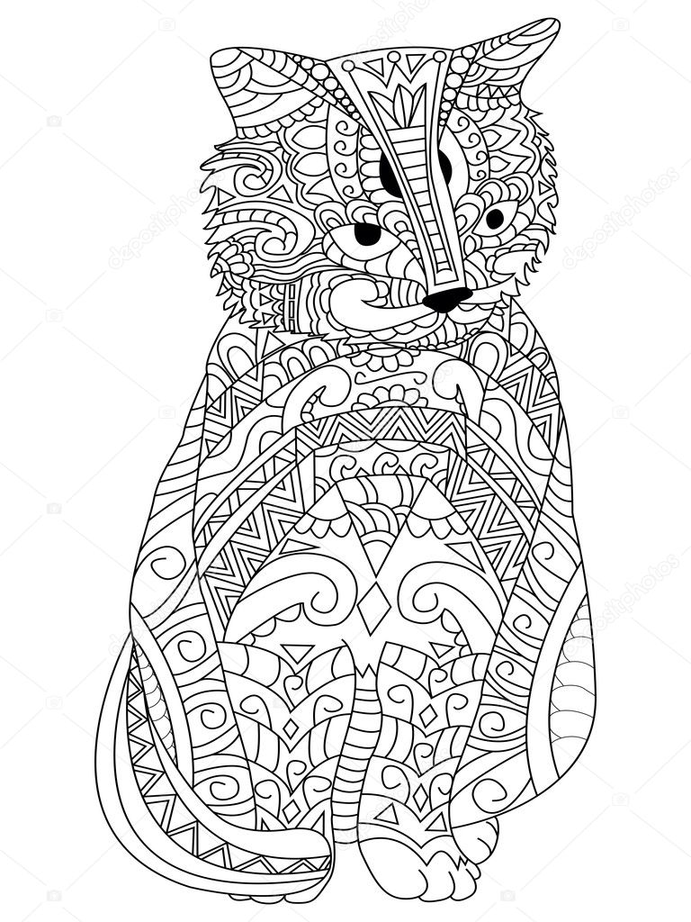 Cat Coloring Vector For Adults Stock Vector C Toricheks2016