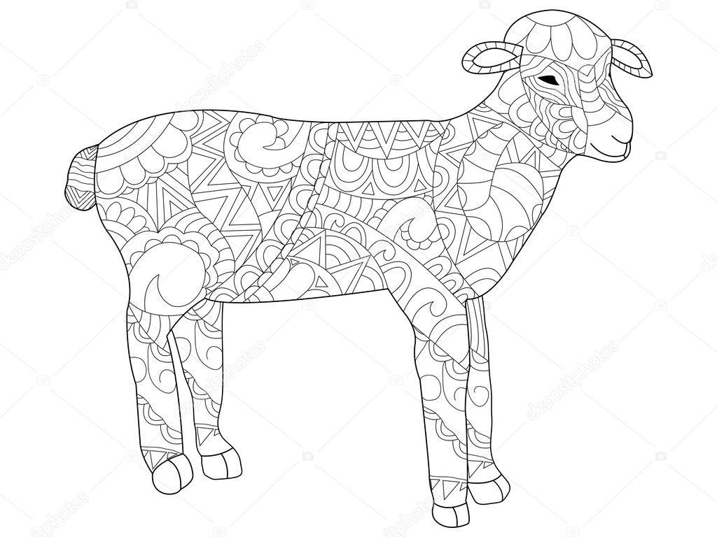 вектор овец раскраски для взрослых векторное изображение