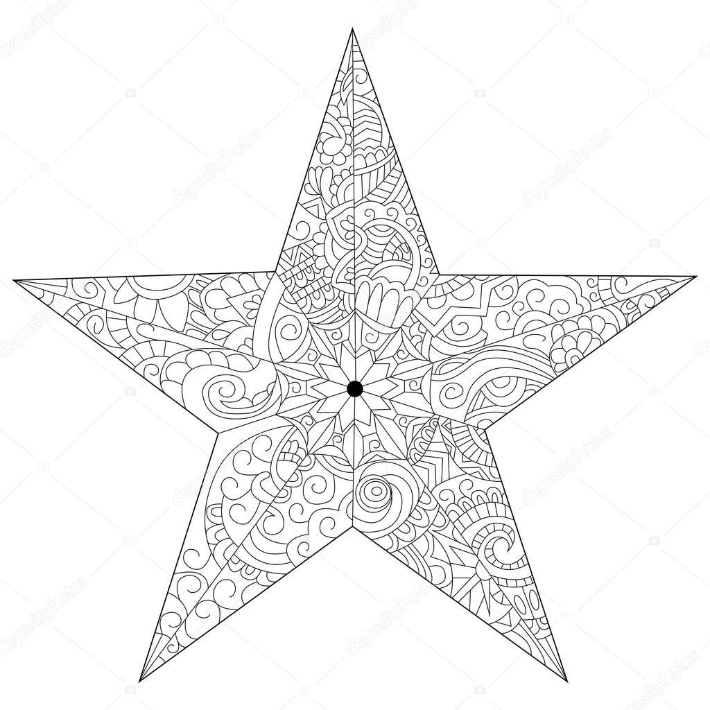 Yetişkinler Için Vektör Yıldız Boyama Stok Vektör Toricheks2016