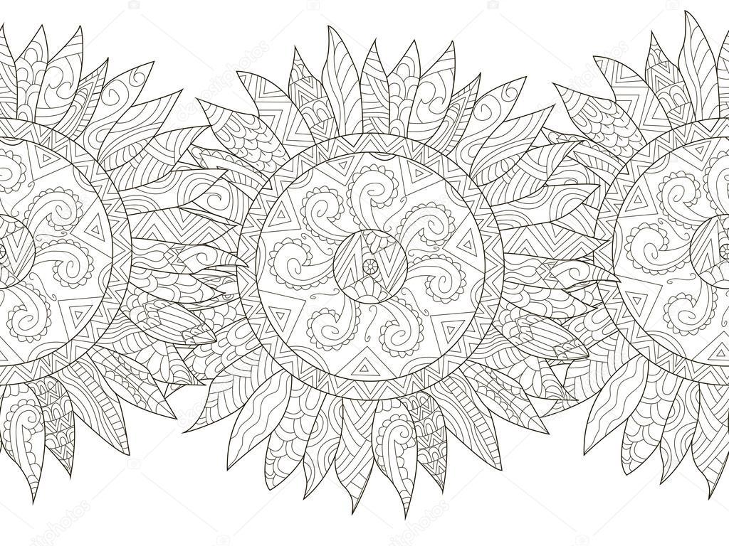 Vector de flores de girasol para colorear Mandala para adultos ...