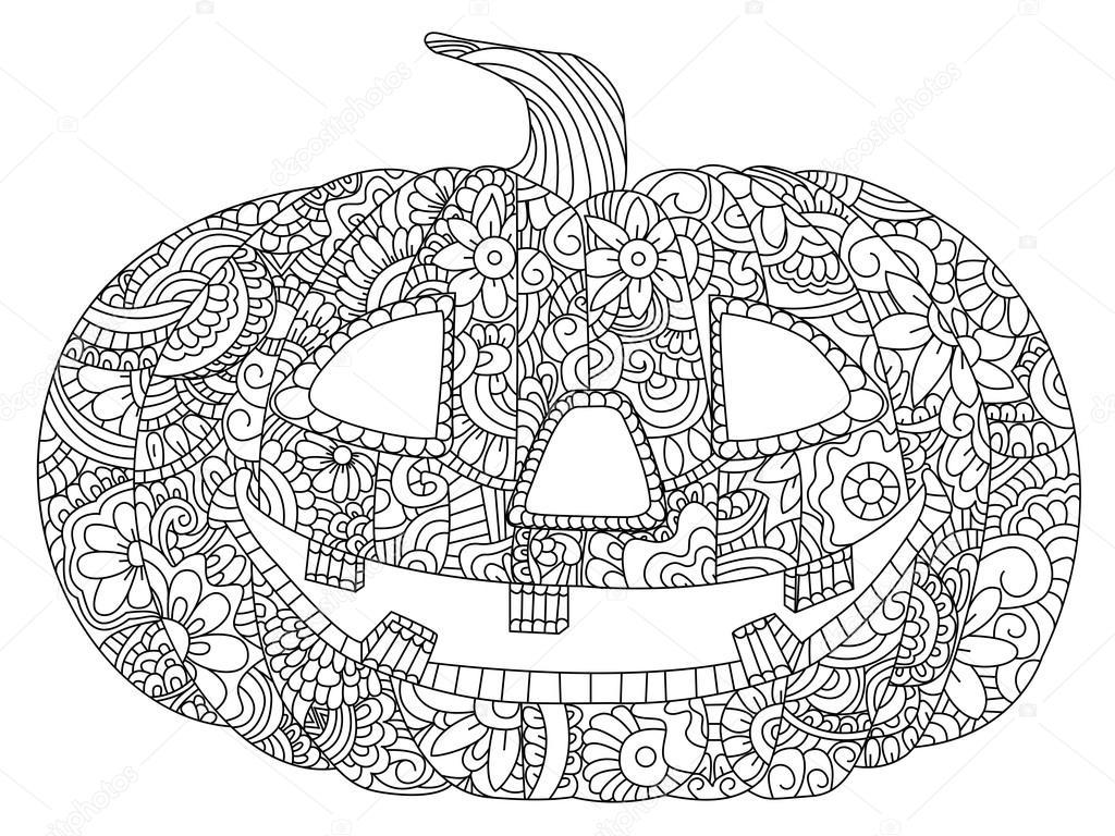 Pompoen Voor Halloween Kleurplaten Van Vector Stockvector