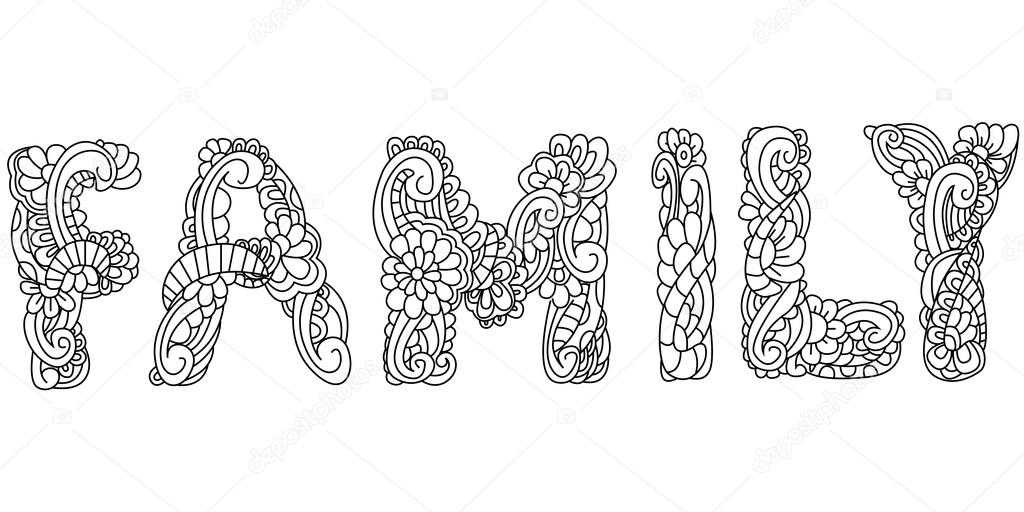 Inscripción de la familia de ilustración para colorear antiestrés ...