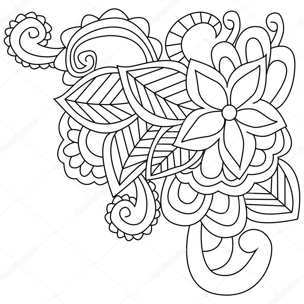Vector de flores para colorear para adultos — Vector de stock ...