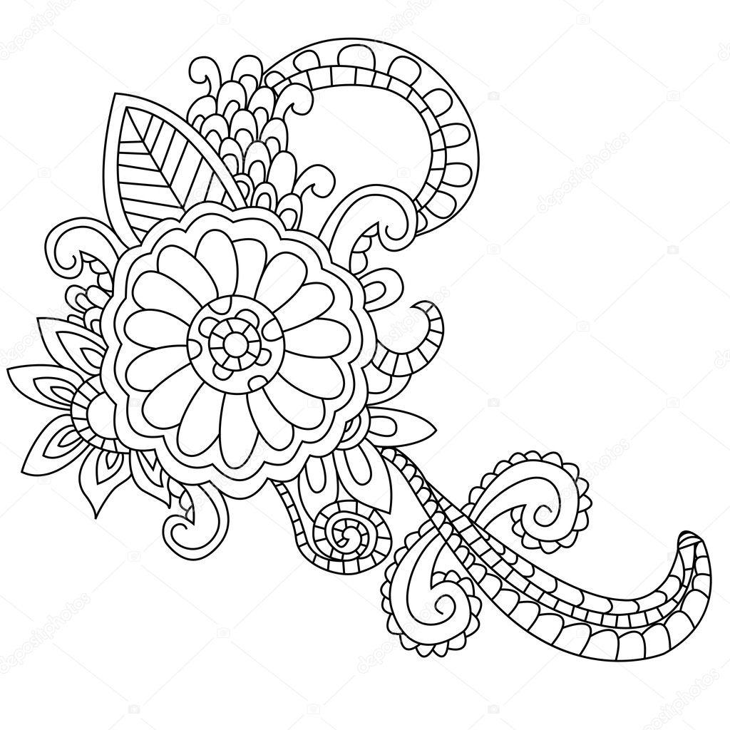 Vector de flores para colorear para adultos — Archivo Imágenes ...