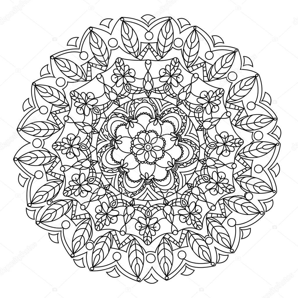 fiore di mandala da colorare vettoriale per adulti — vettoriali