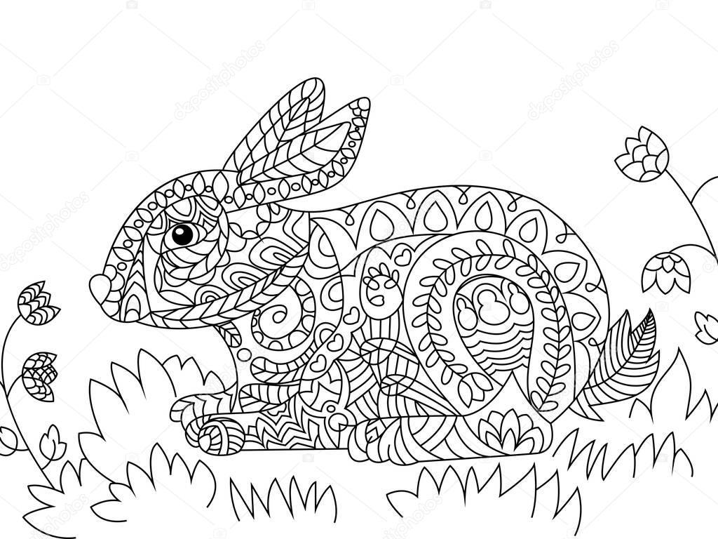 Vector de conejo para colorear para adultos — Vector de stock ...