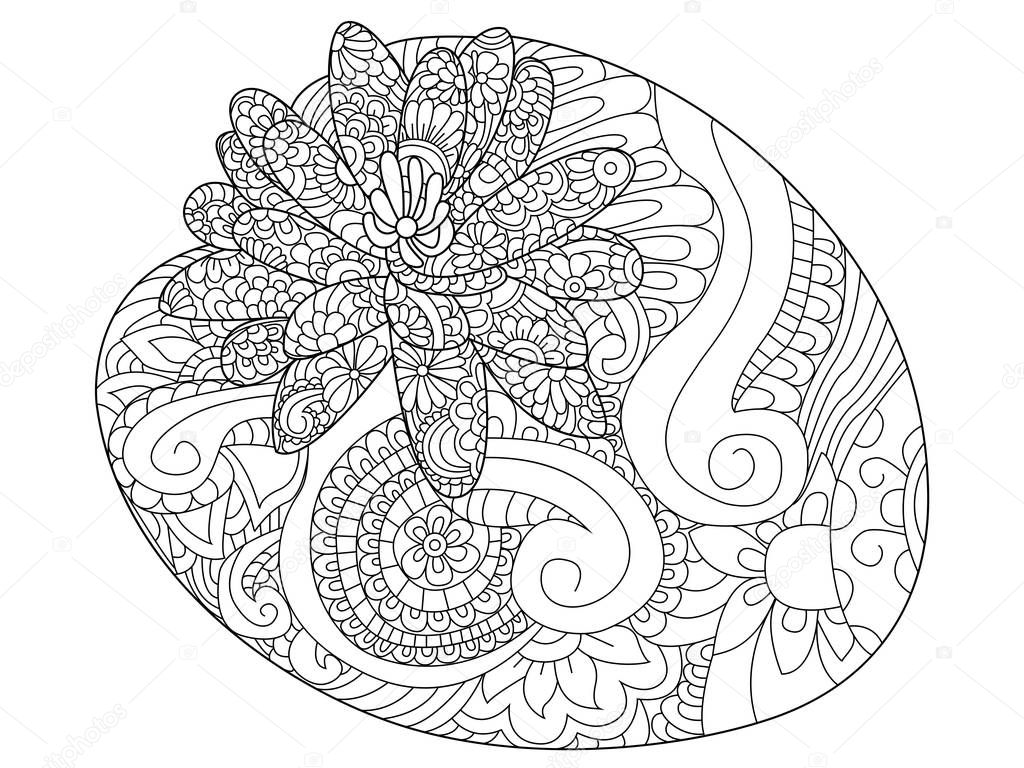 Water lily flower coloring raster for adults — Stock Vector