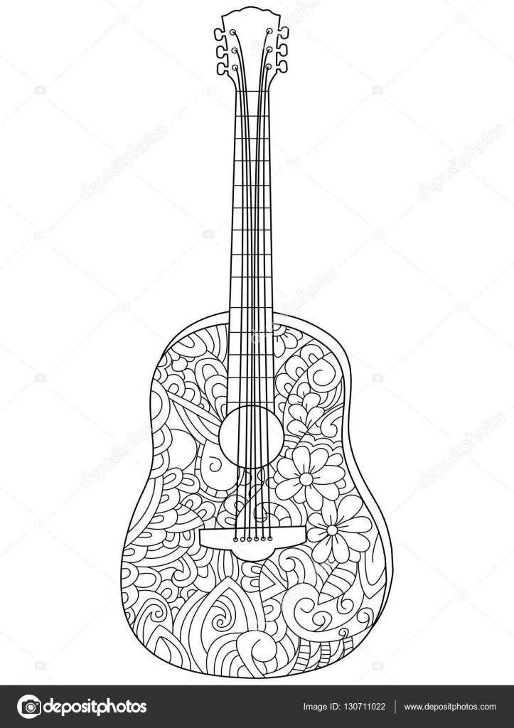 Vector de libro instrumentos musicales guitarra para colorear para ...