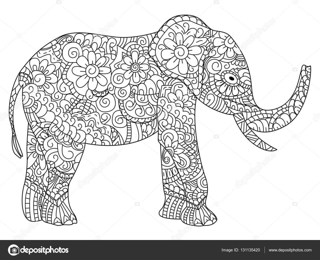 Elephant Coloring book vector for adults — Stock Vector ...