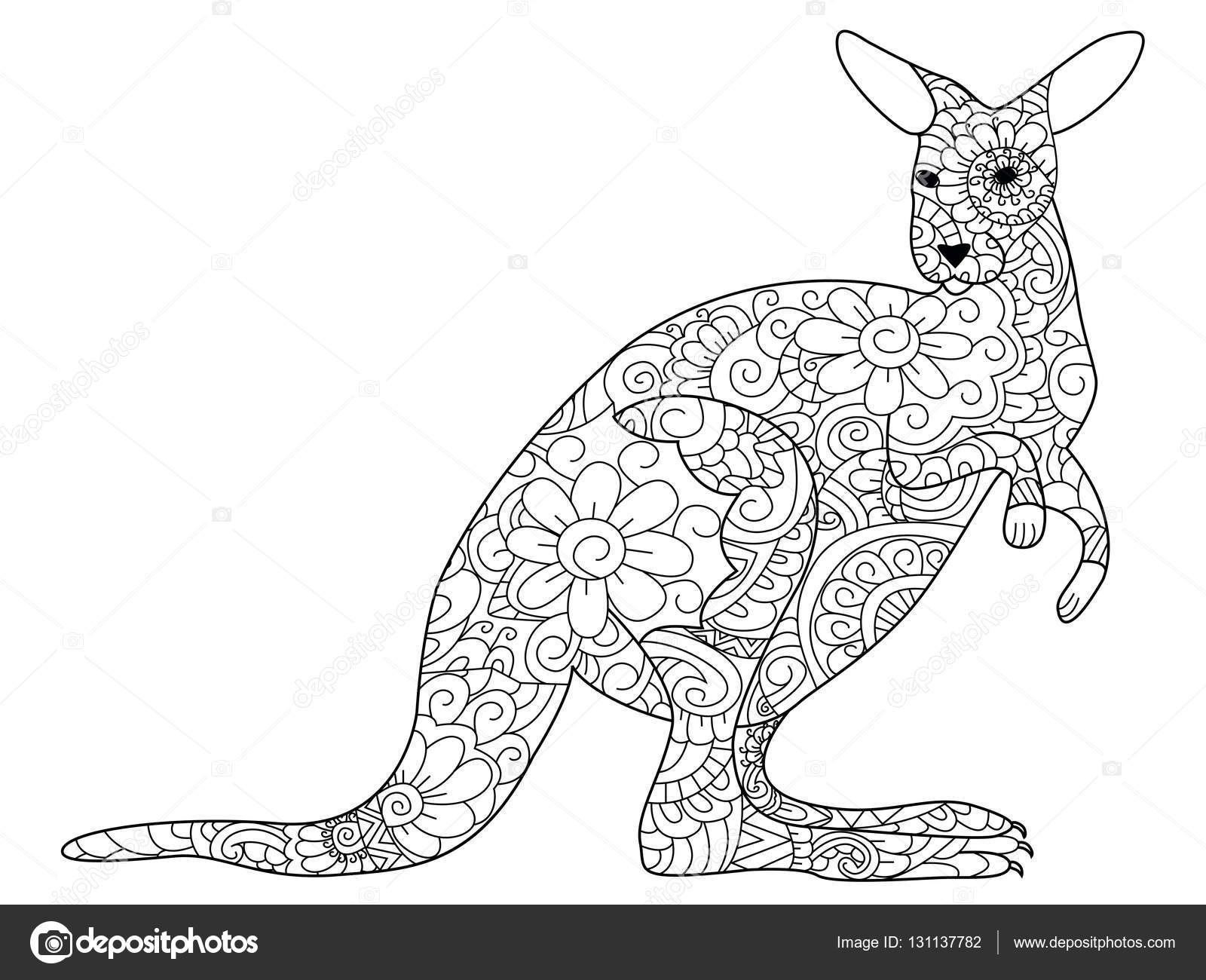 Coloriage Mandala Kangourou.Kangourou Coloriage Livre Vecteur Pour Les Adultes Image