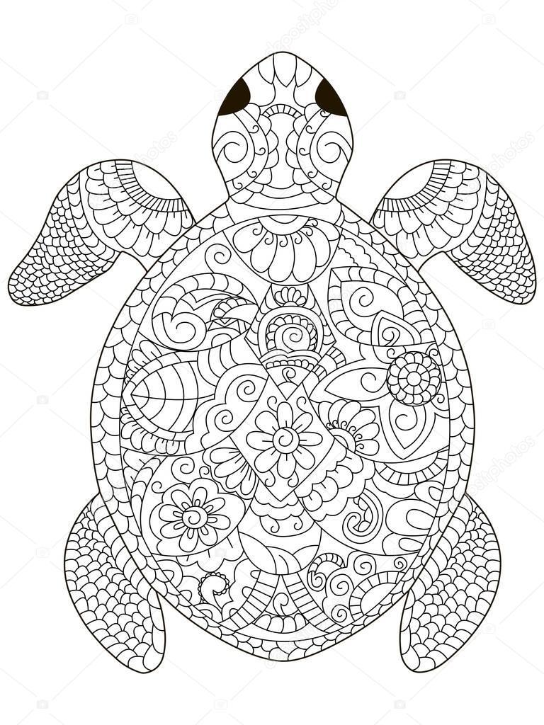 im genes tortuga carey para colorear tortuga para colorear vector para adultos vector de. Black Bedroom Furniture Sets. Home Design Ideas