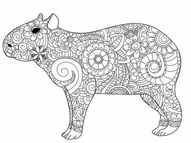Capybara coloring vector for adults