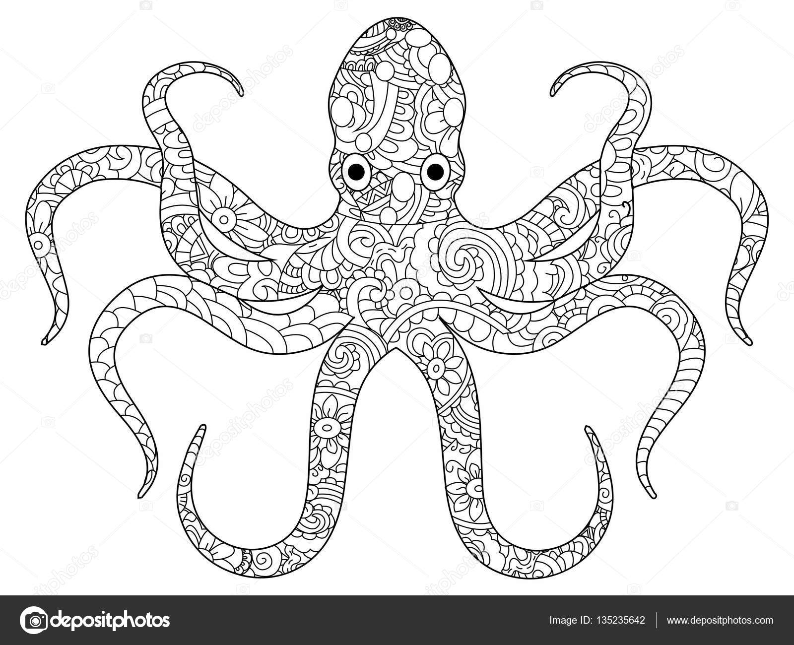Pulpo para colorear libro de vectores adultos — Vector de stock ...