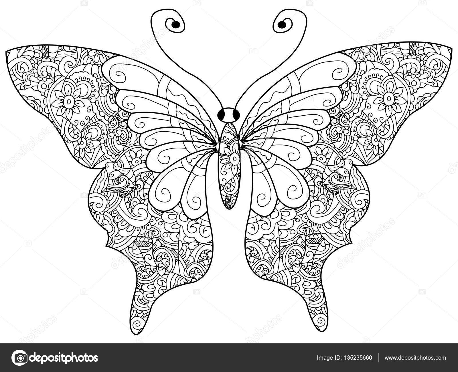 butterfly coloring book vector for adults stockvector