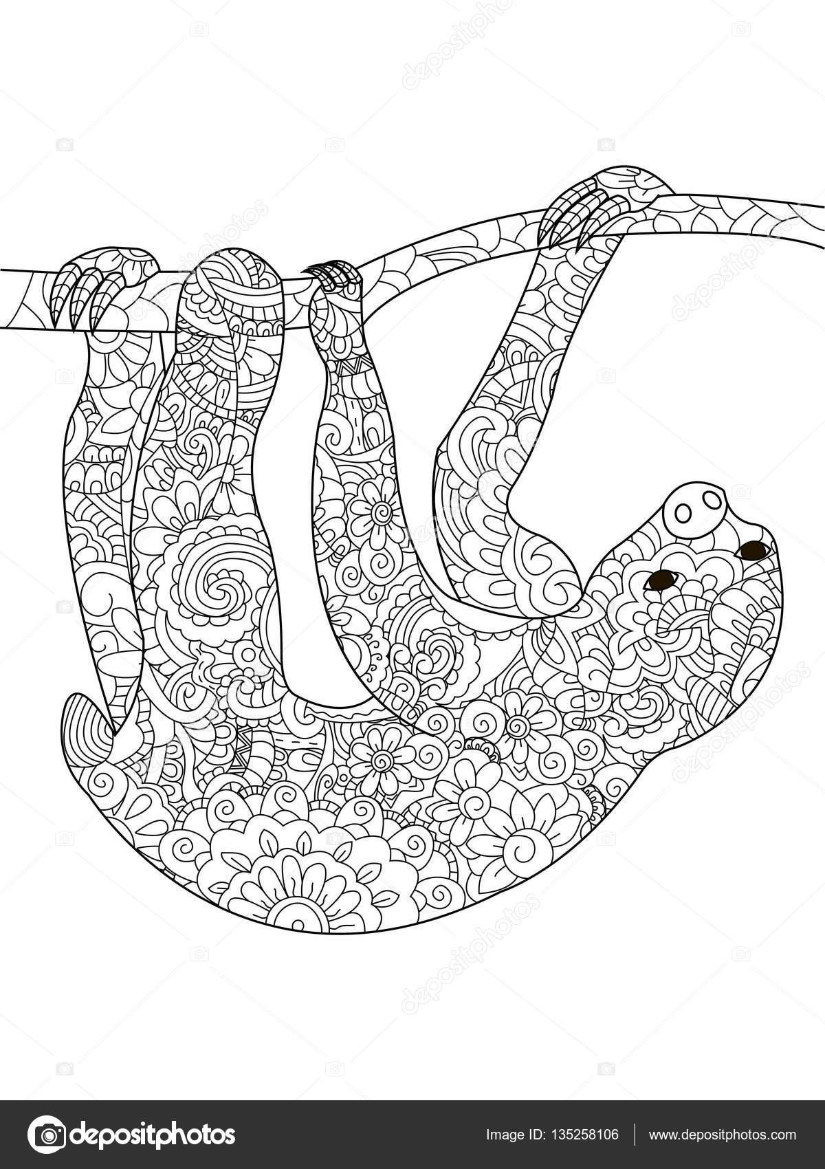 Faultier auf einem Zweig Coloring Book Vektor für Erwachsene ...