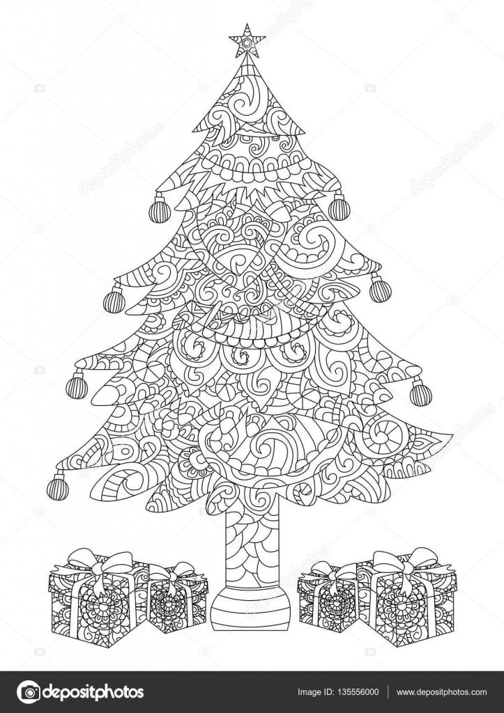 Árbol de Navidad con regalos para colorear vector — Archivo Imágenes ...